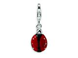 Amore LaVita™ Sterling Silver 3-D Enameled Lady Bug w/Lobster Clasp Bracelet Charm style: QCC373