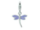 Amore LaVita™ Sterling Silver Lilac Enameled Dragonfly w/Lobster Clasp Bracelet Charm style: QCC375