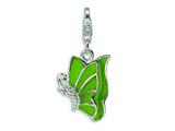 Amore LaVita™ Sterling Silver Green Enameled and CZ Butterfly w/Lobster Clasp Bracelet Charm style: QCC377