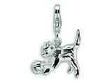 Amore LaVita™ Sterling Silver Kitten w/ Ball w/Lobster Clasp Bracelet Charm style: QCC389