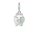Amore LaVita™ Sterling Silver 3-D Enameled Pig w/Lobster Clasp Bracelet Charm style: QCC394