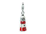 Amore LaVita™ Sterling Silver 3-D Enameled Swarovski Crystal Lighthouse w/Lobster Clasp C for Charm Bracelet style: QCC427