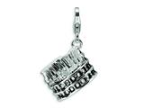 Amore LaVita™ Sterling Silver 3-D Antiqued Colliseum w/Lobster Clasp Bracelet Charm style: QCC453