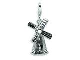 Amore LaVita™ Sterling Silver 3-D Enameled Windmill w/Lobster Clasp Charm (Moveable) for Charm Bracelet style: QCC457