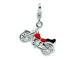 Amore LaVita™ Sterling Silver 3-D Enameled Motorcycle w/Lobster Clasp Bracelet Charm style: QCC494