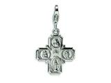 Amore LaVita™ Sterling Silver 4-way Medal w/Lobster Clasp Bracelet Charm style: QCC499