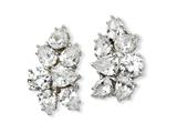 Cheryl M™ Sterling Silver CZ Fancy Omega Back Earrings style: QCM100