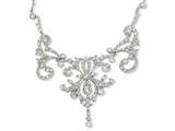 Cheryl M™ Sterling Silver CZ Fancy Scroll 17in w/2in ext Necklace style: QCM109