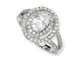Cheryl M™ Sterling Silver Fancy Oval CZ Ring style: QCM124