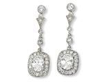 Cheryl M™ Sterling Silver Oval CZ Dangle Post Earrings style: QCM128
