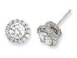 Cheryl M™ Sterling Silver CZ Round Post Earrings style: QCM129