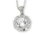 Cheryl M™ Sterling Silver CZ 18in Necklace style: QCM130