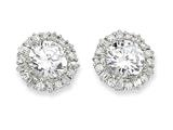 Cheryl M™ Sterling Silver CZ Post Earrings style: QCM131