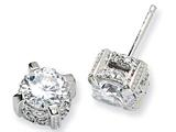 Cheryl M™ Sterling Silver CZ Post Earrings style: QCM132