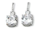 Cheryl M™ Sterling Silver Square CZ Post Earrings style: QCM151