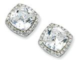 Cheryl M™ Sterling Silver Rose-cut CZ Square Post Earrings style: QCM157
