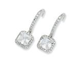 Cheryl M™ Sterling Silver Square CZ Wire Earrings style: QCM160