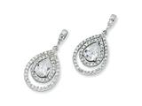Cheryl M™ Sterling Silver Pear CZ Dangle Post Earrings style: QCM170