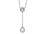 Cheryl M™ Sterling Silver Checker-cut CZ 17in w/2in ext Necklace style: QCM171