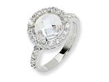 Cheryl M™ Sterling Silver Checker-cut CZ Ring style: QCM177
