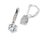 Cheryl M™ Sterling Silver CZ Leverback Earrings style: QCM186