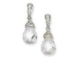 Cheryl M™ Sterling Silver Teardrop CZ Dangle Post Earrings style: QCM206