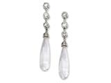 Cheryl M™ Sterling Silver CZ Teardrop Dangle Post Earrings style: QCM207
