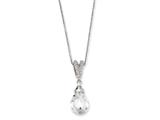 Cheryl M™ Sterling Silver Teardrop CZ 18in Necklace style: QCM209