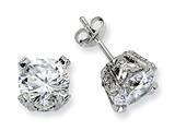 Cheryl M™ Sterling Silver 8mm CZ Stud Earrings style: QCM244