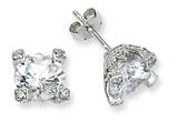 Cheryl M™ Sterling Silver 8mm CZ Stud Earrings style: QCM245