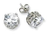 Cheryl M™ Sterling Silver 8mm CZ Stud Earrings style: QCM246