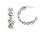 Cheryl M™ Sterling Silver CZ Post Fancy Hoop Earrings style: QCM252