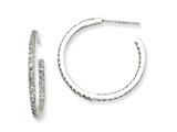 Cheryl M™ Sterling Silver In/Out CZ Post Hoop Earrings style: QCM254