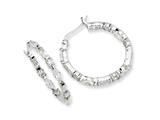 Cheryl M™ Sterling Silver In/Out CZ Post Hoop Earrings style: QCM265