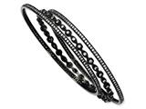 Cheryl M™ Black-plated Sterling Silver CZ Three Bangle Set style: QCM277