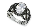 Cheryl M™ Black-plated Sterling Silver Fancy Oval Black/Wht CZ Ring style: QCM349