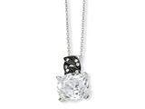 Cheryl M™ Sterling Silver and Black-plated 100-facet CZ 18in Necklace style: QCM355