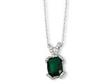 Cheryl M™ Sterling Silver Simulated Emerald and CZ 18in Necklace style: QCM374