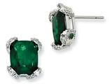 Cheryl M™ Sterling Silver Simulated Emerald and CZ Post Earrings style: QCM379