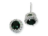 Cheryl M™ Sterling Silver Simulated Emerald and White CZ Round Post Earrings style: QCM380
