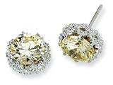 Cheryl M™ Sterling Silver Round Canary CZ Post Earrings style: QCM384