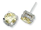 Cheryl M™ Sterling Silver 8mm Canary CZ Stud Earrings style: QCM394