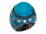 Cheryl M™ Black-plated Sterling Silver Enameled Simulated Turquoise and CZ Ring style: QCM543