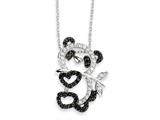 Cheryl M™ Sterling Silver CZ Heart Teddy Bear 18in Necklace style: QCM603