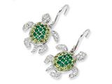 Cheryl M™ Sterling Silver Simulated Peridot/Simulated Emerald/ CZ Turtle Earrings style: QCM605