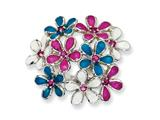 Cheryl M™ Sterling Silver Enameled CZ Flowers Ring style: QCM638