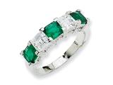 Cheryl M™ Sterling Silver Asscher-cut Simulated Emerald/CZ 5-stone Ring style: QCMFJ375