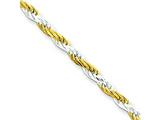 18 Inch Sterling Silver 2.5mm Yellow Rope Chain Necklace style: QDCY060