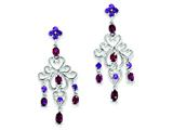 Sterling Silver Rhodolite Garnet and Amethyst Dangle Earrings style: QE10979X