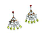 Sterling Silver Garnet, Citrine and Peridot Dangle Earrings style: QE10982X